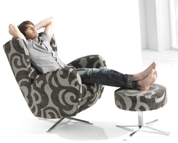 Romeo Swivel Chair shown with Romeo Stool