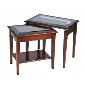Bradley Yew 886 Glass Top Nest of Tables-0