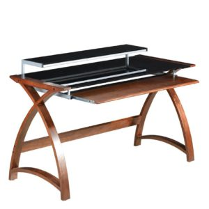 Poise Wide Computer Desk in walnut with black glass