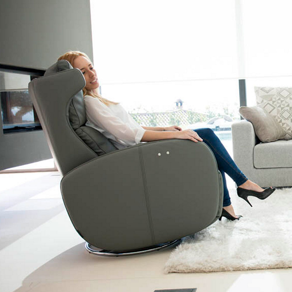 Fama Kim Electric Recliner Armchair in leather