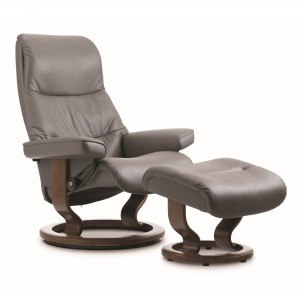 Stressless View chair & stool in metal grey