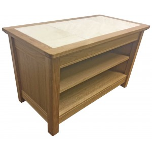 Anbercraft Beaumont Small TV Unit with osyter tile top