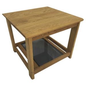 Anbercraft Kudos Lamp Table with smoked glass bottom inlay