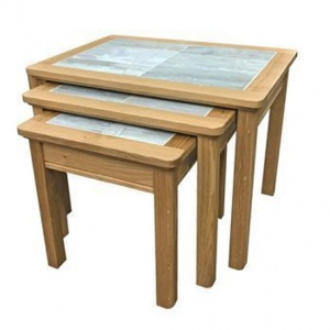 Anbercraft Beaumont Nest of 3 Tables with Brecon Tile Top