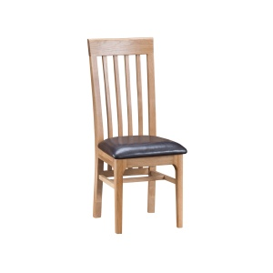 Nantes Oak Slat Back Chair with faux leather seat