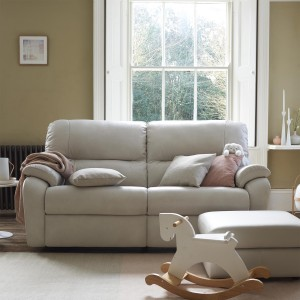 G Plan Mistral Leather 3 Seater Sofa with 2 seat cushions