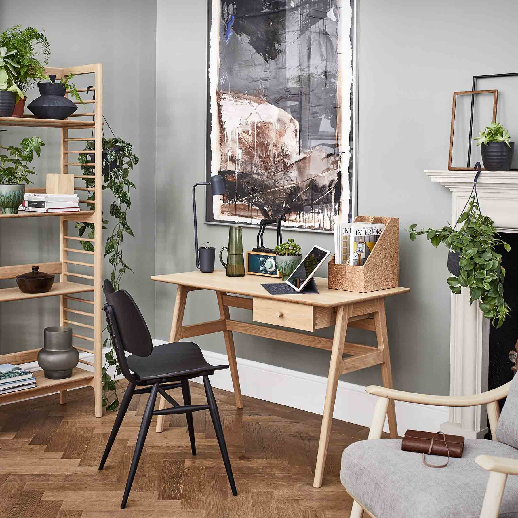ercol ballatta shelving unit and desk