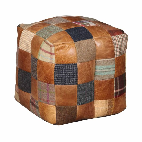 Cube Leather & Wool Mix Bean Bag