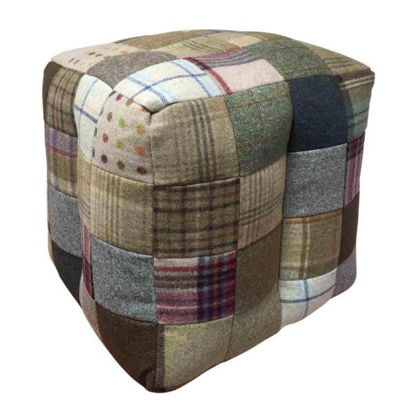 Cube Patchwork Wool Bean Bag