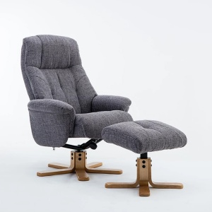 Dante Swivel Recliner Chair & Footstool in Lisbon Grey