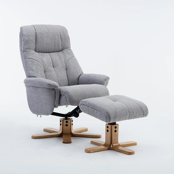 Dante Swivel Recliner Chair & Footstool in Lisbon Silver