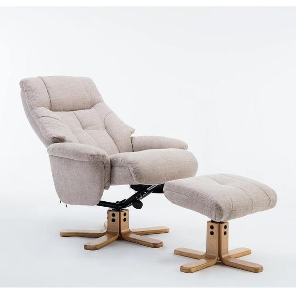 Dante Swivel Recliner Chair & Footstool in Lisbon Wheat