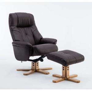 Dante Swivel Recliner Chair & Footstool in Plush Brown