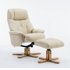Dante Swivel Recliner Chair & Footstool in Plush Cream