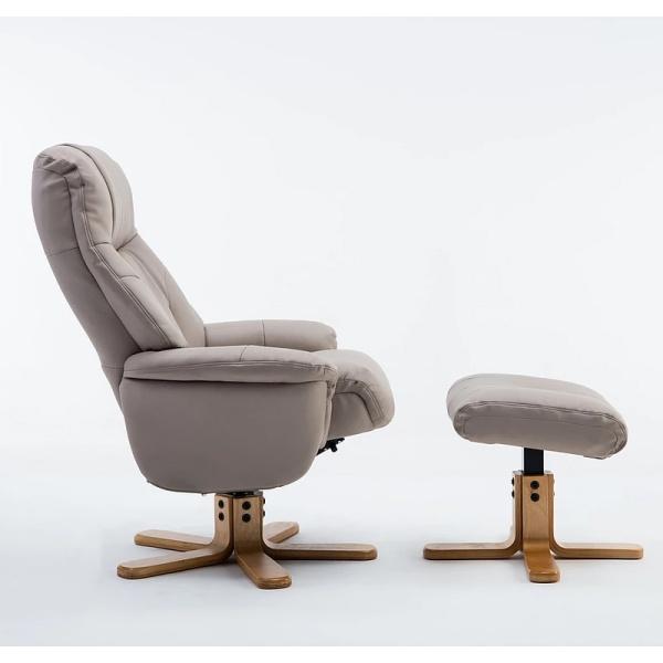 Dante Swivel Recliner Chair & Footstool in Plush Pebble