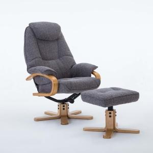 Petroc Swivel Recliner Chair & Footstool in Lisbon Grey