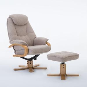Petroc Swivel Recliner Chair & Footstool in Lisbon Wheat