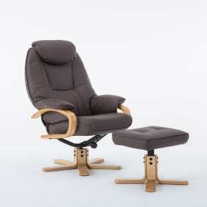 Petroc Swivel Recliner Chair & Footstool in Plush Brown