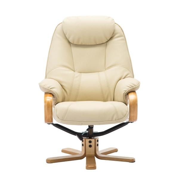 Petroc Swivel Recliner Chair & Footstool in Plush Cream