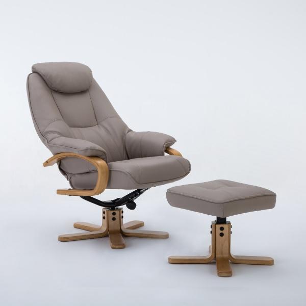 Petroc Swivel Recliner Chair & Footstool in Plush Pebble