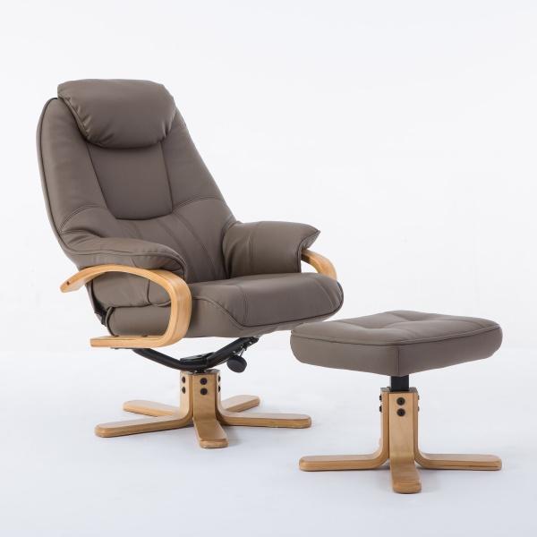 Petroc Swivel Recliner Chair & Footstool in Plush Truffle