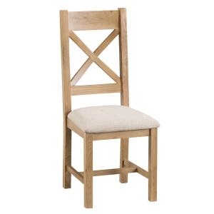 Cordoba Oak Cross Back Chair with fabric seat