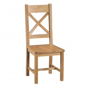 Cordoba Oak Cross Back Chair with wooden seat