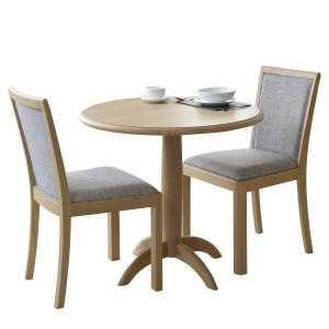 Bergen Compact Round Fixed Top Dining Table with high back chairs