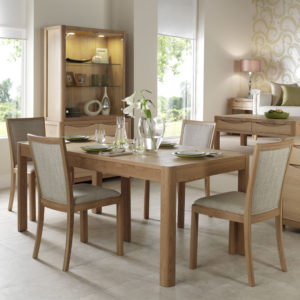 Bergen Rectangular Extending Table with upholstered chairs