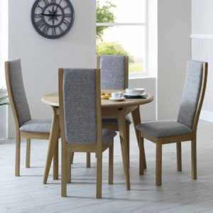 Bergen Small Round Extending Dining Table with high back chairs