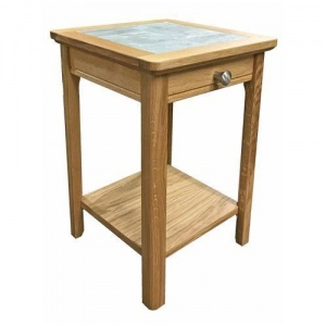 Anbercraft Beaumont Mini Lamp Table with Drawer with Brecon Tile Top