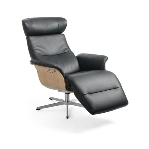 Timeout Crossfoot Swivel Chair with footrest in leather