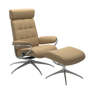 Stressless London Chair & Stool with adjustable headrest