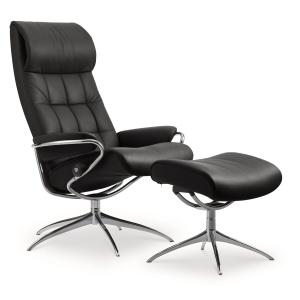 Stressless London Chair & Stool with standard headrest
