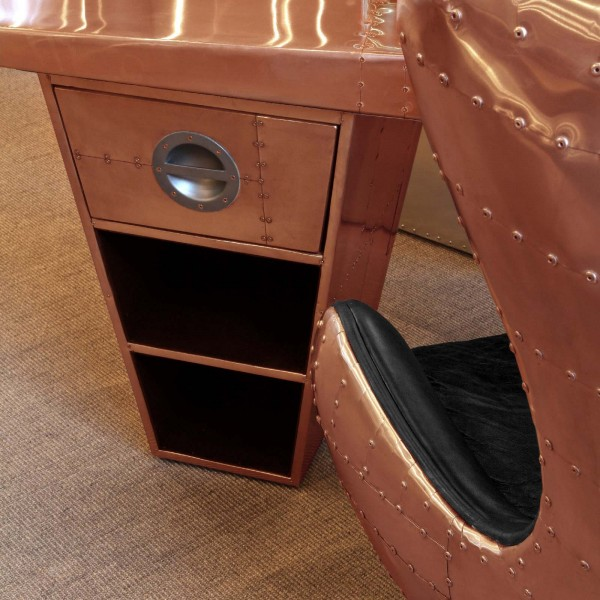 Aviator Half Wing Desk in copper detail