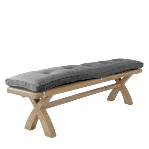 Honiton Oak Bench with Cushion in Grey