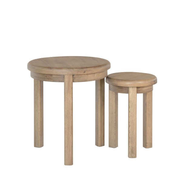 Honiton Oak Round Nest of 2 Tables 2