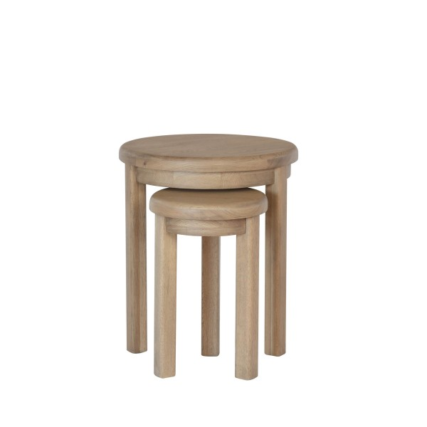 Honiton Oak Round Nest of 2 Tables 3