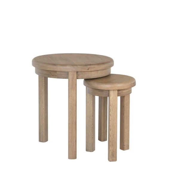 Honiton Oak Round Nest of 2 Tables