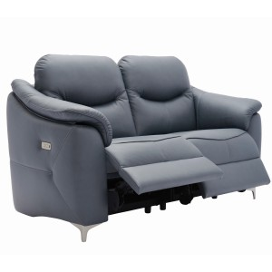G Plan Jackson Leather 3 Seater Recliner Sofa with metal feet