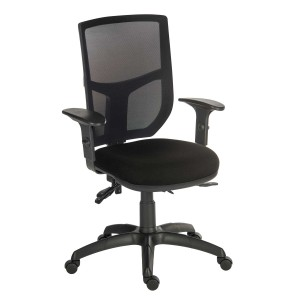 Comfort Mesh Office Chair in black with adjustable arms