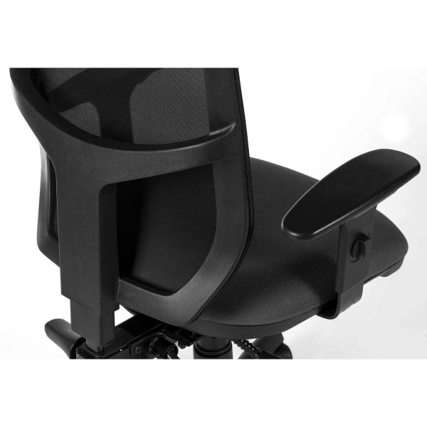 Comfort Mesh Office Chair in black with adjustable arms detail