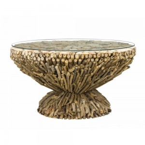 Driftwood Round Coffee Table side