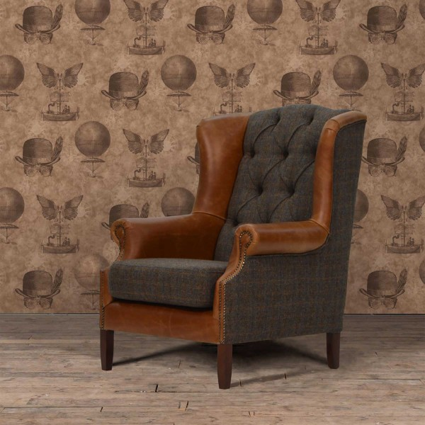 Winston Wing Chair in Harris Tweed & Leather