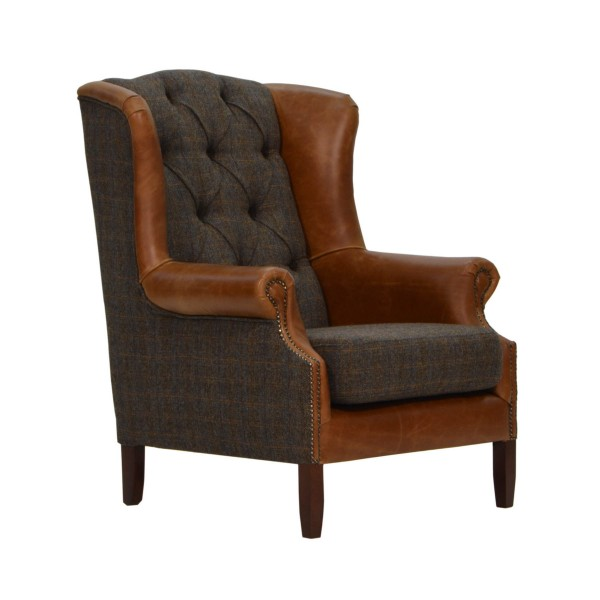 Winston Wing Chair in Harris Tweed & Leather angled