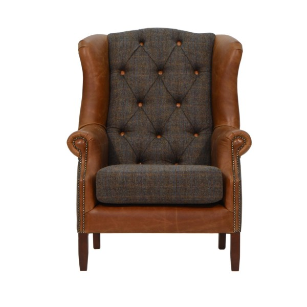 Winston Wing Chair in Harris Tweed & Leather front