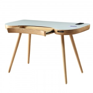 Stirling Smart Desk in Oak with drawer open