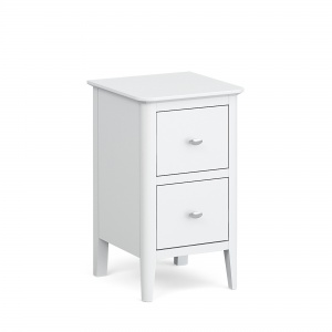 Capri White 2 Drawer Narrow Bedside Chest