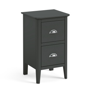 Capri Charcoal 2 Drawer Narrow Bedside Chest