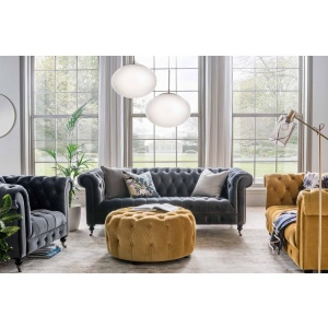 Deverell Sofa Collection in Mustard & Grey